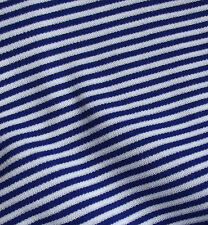 ROYAL BLUE striped fabric Vintage dress material Tubular knit Pirate 1 metre