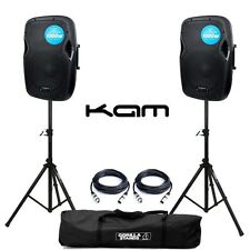 "2x Kam RZ12A V3 Active PA Speaker 2000W 12"" DJ Disco Sound System with Stands"