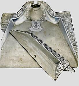 Vintage Antique Aluminum Butlers Table Crumb Catcher Dust Pan w Sweeper 2 Pc Set