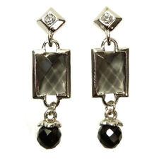 Boucles d'oreilles plaqué or cristal Swarovski strass noire losange rectangle