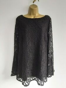 Joanna Hope Black Lacey Top Bell Sleeves Size 16 (more like a 12-14) Fit