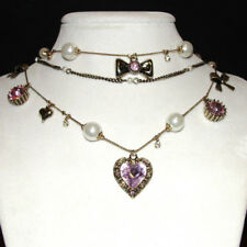 Betsey Johnson 3 Chain Pink Crystal Heart, Pearl & Bow Necklace