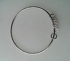 HANDMADE SOLID 925  STERLING SILVER  BANGLE 6.5 cm diameter WITH 7 LUCKY RINGS