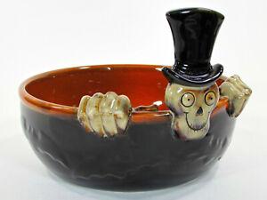 "Yankee Candle BONEY BUNCH 8"" Candy Bowl 2010 Skeleton Top Hat Halloween 1201007"