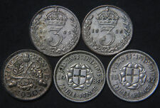 1925, 1926, 1930, 1939 & 1942 Silver Threepence Coins