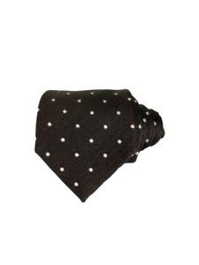 NWT LUXURY Tom Ford Silk Tie Brown Polka Dot/White Herringbone Woven Business