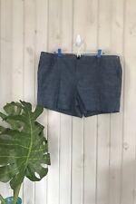 "New MERONA Womens Chambray Indigo 5"" 100% Cotton Mid Rise Chino Shorts Size 18"