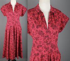 VTG  50s Red Dutch Windmill Print Cotton Blouson Dress #1475 1950s Novelty