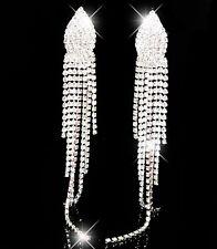 Long Drop Diamante Crystal Rhinestone Silver Large Earrings