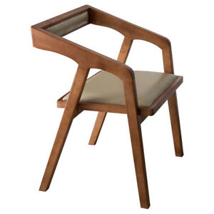 Dining Chair Solid Wood Faux Leather Cushion Casual Desk Chair