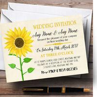 Vintage Sunflower Formal Personalised Wedding Invitations