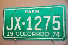 1974 COLORADO License Plate    ** FARM ***   RECESSED ALPHANUMERICS  **