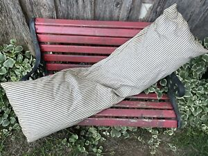 Vintage Blue & Khaki Stripe Ticking Feather Bolster Pillow