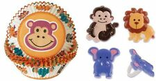 NEW WILTON JUNGLE ANIMAL BAKING CUPS AND  12 CUPCAKE RINGS SET