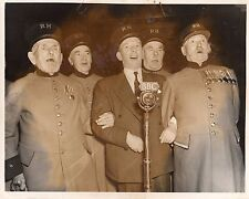 PHOTOGRAPH WILFRED PICKLES SINGING CHELSEA PENSIONERS BBC SOLDIER MEDALS UNIFORM