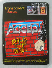 RARE MINT ON CARD ACCEPT 1984 VINTAGE ORIGINAL MUSIC WINDOW DECAL STICKER