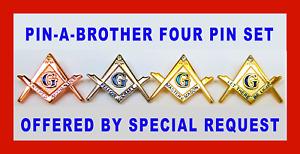 4 PIN MASONIC DEGREE PIN SET EA FC MM        (NGM 4PINSET)