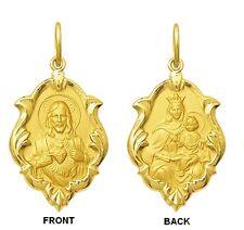 18k Gold Scapular Medal Medium, 1,5 grams - Lady of Carmel with heart of Jesus