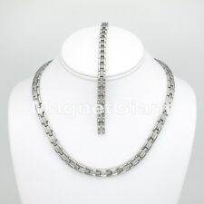 Women Magnetic Stainless Steel Link Necklace Bracelet Set - 5000 Gauss 316L