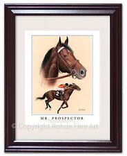 MR. PROSPECTOR - FRAMED HORSE RACING ART racehorse equine portrait painting