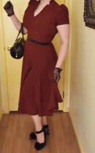 Collectif Dress Burgundy Swing Aline Rockabilly Pin Up