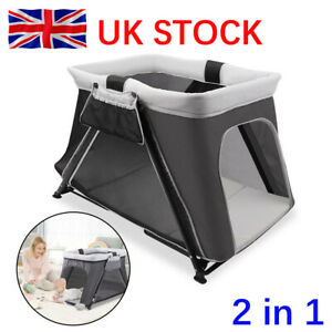 2 in 1 Foldable Travel Cot Cribs Baby Playpen Toddler Activity Nursery Center UK