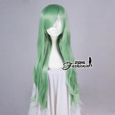 80CM Light Green Long Wavy Basic Fashion Hair Women Party Synthetic Cosplay Wig