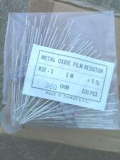 360 Ohm 5% 1W Resistors bag of 100 Metal Oxide Film