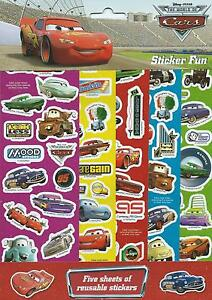 Disney Cars Sticker Fun 5 Sheets of Reusable Stickers - Cars Party Supplies