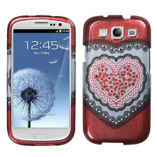 Samsung Galaxy S III S3 Spot Diamond Bling HARD Case Phone Cover Red Heart Lace