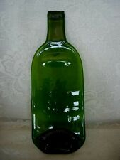 Collectible Large Green Glass Flattened Bottle Plate