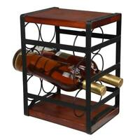 Rustic Wood Countertop Wine Rack 6 Bottles Family Bar Can Store Wine Rack