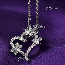 18K WHITE GOLD GF MADE WITH SWAROVSKI CRYSTAL FLOWER HEART PENDANT NECKLACE