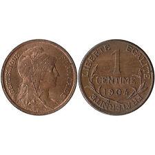 1904 France 1 Centime Coin KM#840 AU-UNC