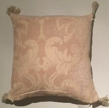 Cream Chenille Embroidered Jaquard Striped Reversible Tassled Cushion Cover