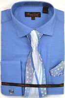 Men's Dress Shirt Tie Hanky Set Solid Blue Cuff Links French Cuff Spread Collar