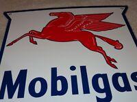 """VINTAGE MOBIL MOBILGAS PEGASUS HORSE 11 3/4"""" PORCELAIN METAL GASOLINE & OIL SIGN"""