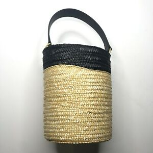 Caterina Bertini Small Straw Bucket Bag Black Tan Cylinder Circle Drawstring