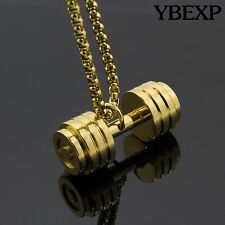 "24"" Men's Silver Gold Black Stainless Steel Dumbbell Barbell Pendant Necklace"
