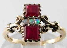 DIVINE 9K 9CT GOLD INDIAN RUBY & AUS OPAL ART DECO INS PRINCESS RING FREE RESIZE