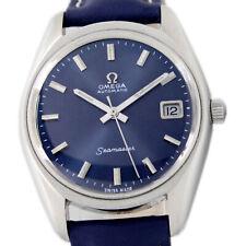 Omega Seamaster Date Automatic Men's Sunburst Blue Dial Wrist Watch