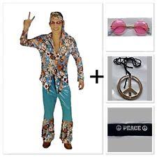 Men's Hippie Costume Plus Hippie Glasses Peace Sign Headband Necklace 60s 70s