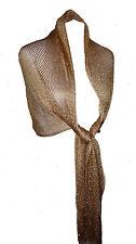 Gold Lurex Wrap Shawl Oversized Scarf Stole Sparkly Honeycomb Mesh Tassels New