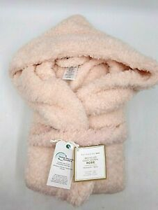 Pottery Barn Cozy Recycled Sherpa Hooded Robe X-Small Small Powdered Blush #9148