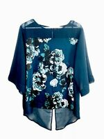 Long Tall Sally Bottle Green Bold Floral Print Top Pleated Back Bell Sleeves 18