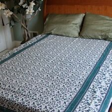 Handmade 100% Cotton Floral Vine Tapestry Tablecloth Spread Blue Twin 70x106
