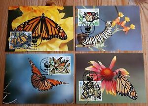 1988    MEXICO  -  SG:1895/98  -  MONARCH BUTTERFLY  - ON 4 MAXI CARDS