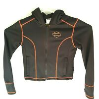 Womans Harley Davidson Black Orange Stitching XS Zip up hoody Sweater