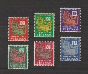 1952 South Vietnam Postage Due Stamps Temple Lion Sc # J1-J6 MNH