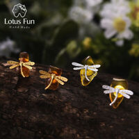 Unique Irregular Amber Stone Dragonfly Solid 925 Silver Jewelry Stud Earrings